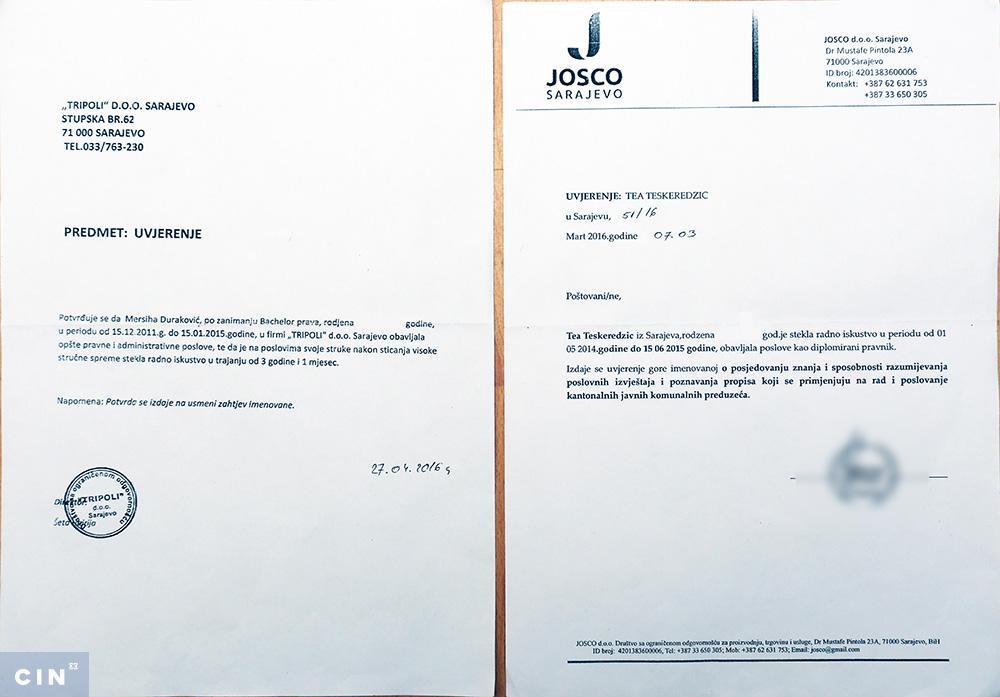 Uvjerenja Durakovic Teskeredzic